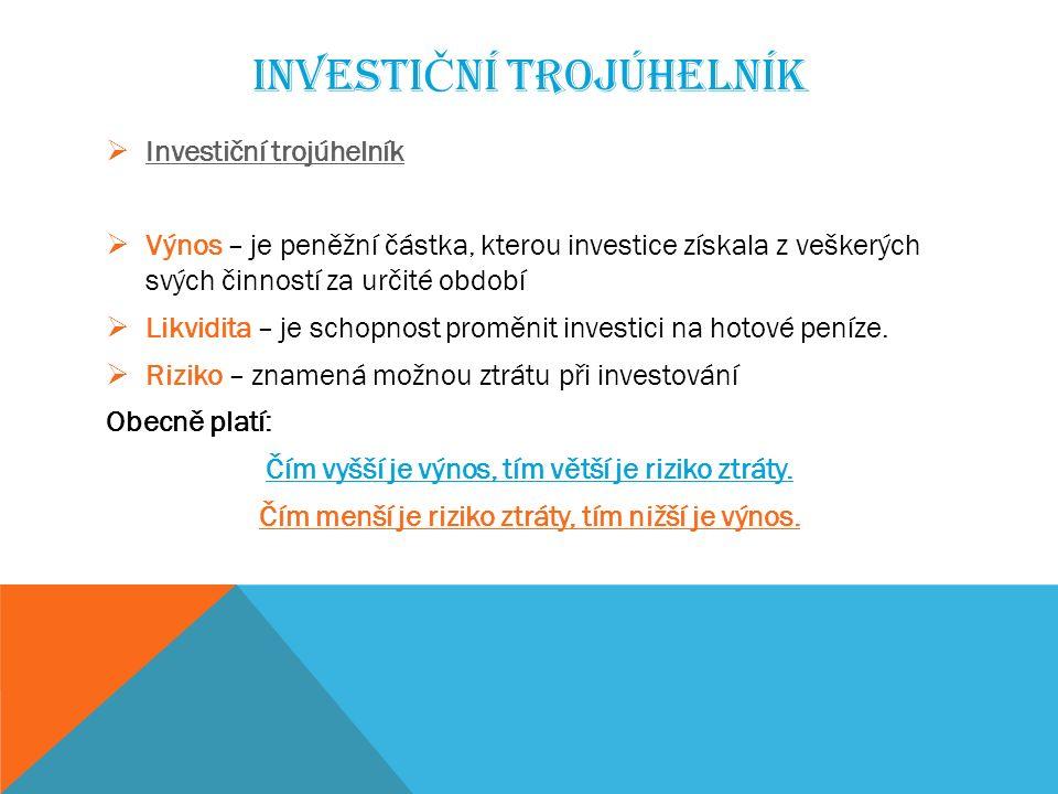 INVESTI Č NÍ TROJÚHELNÍK  Investiční trojúhelník Investiční trojúhelník  Výnos – je peněžní částka, kterou investice získala z veškerých svých činností za určité období  Likvidita – je schopnost proměnit investici na hotové peníze.