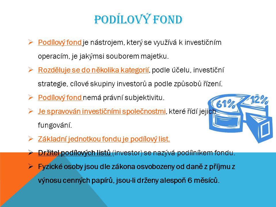 PODÍLOVÝ FOND  Podílový fond je nástrojem, který se využívá k investičním operacím, je jakýmsi souborem majetku.