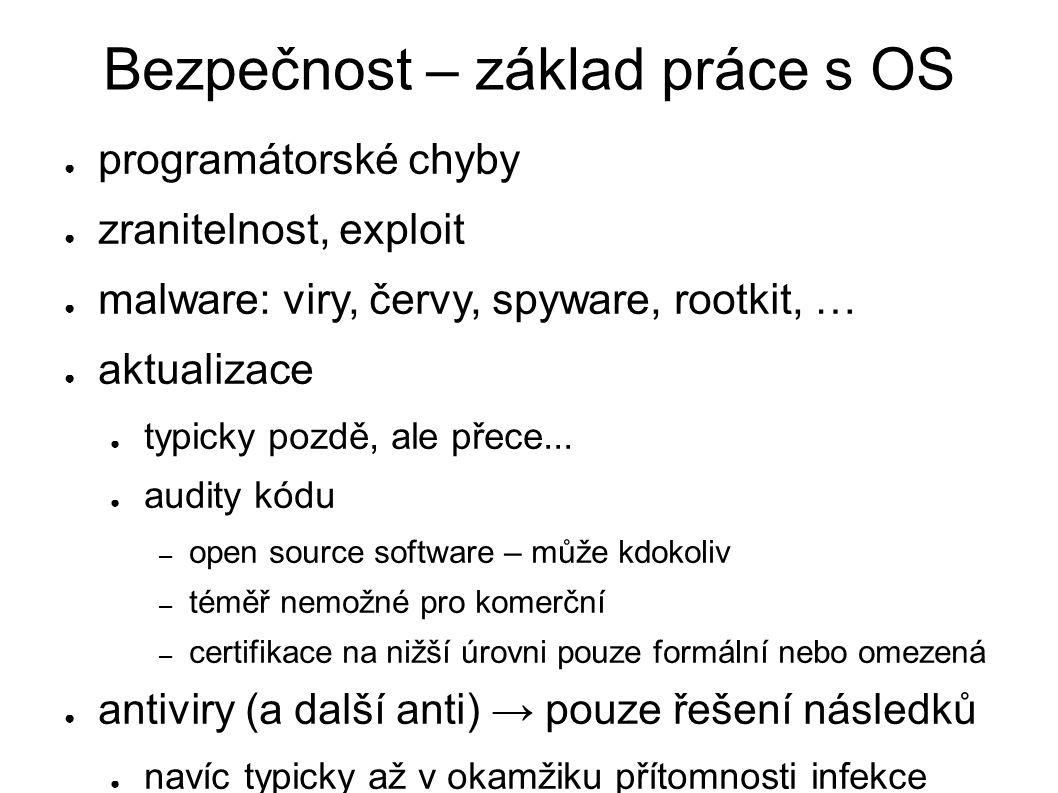 Bezpečnost – základ práce s OS ● programátorské chyby ● zranitelnost, exploit ● malware: viry, červy, spyware, rootkit, … ● aktualizace ● typicky pozd
