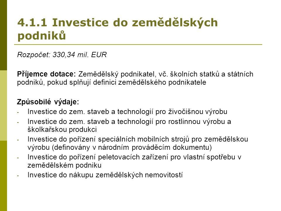 4.1.1 Investice do zemědělských podniků Rozpočet: 330,34 mil.