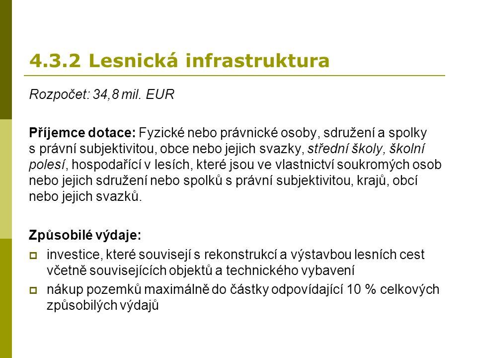 4.3.2 Lesnická infrastruktura Rozpočet: 34,8 mil.