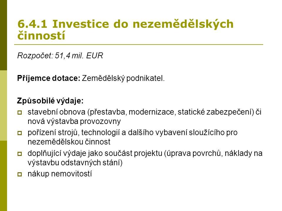 6.4.1 Investice do nezemědělských činností Rozpočet: 51,4 mil.
