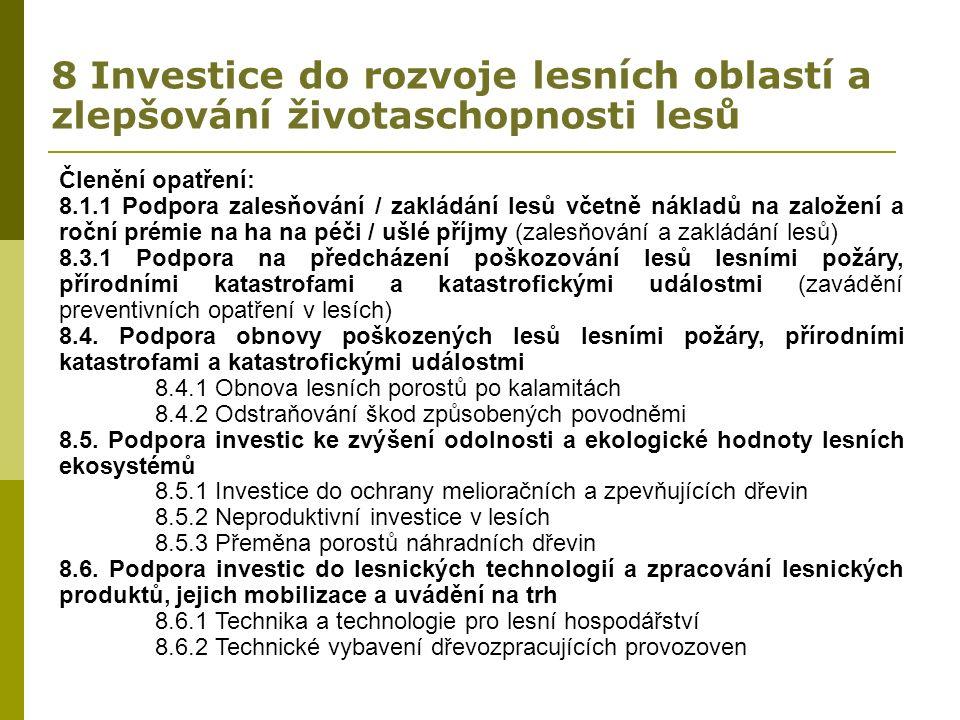 8 Investice do rozvoje lesních oblastí a zlepšování životaschopnosti lesů Členění opatření: 8.1.1 Podpora zalesňování / zakládání lesů včetně nákladů na založení a roční prémie na ha na péči / ušlé příjmy (zalesňování a zakládání lesů) 8.3.1 Podpora na předcházení poškozování lesů lesními požáry, přírodními katastrofami a katastrofickými událostmi (zavádění preventivních opatření v lesích) 8.4.