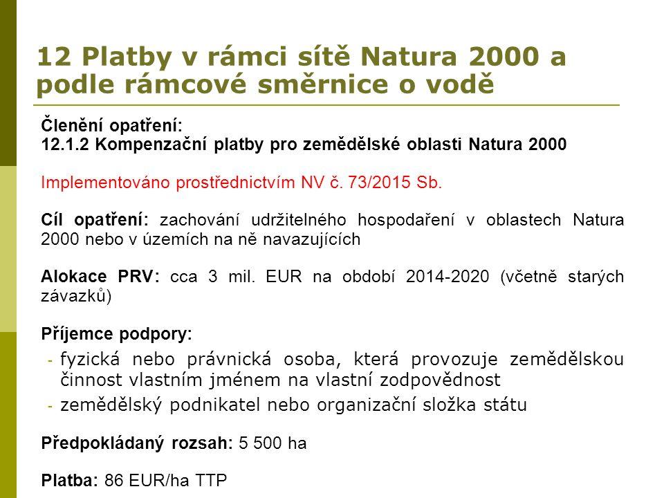 12 Platby v rámci sítě Natura 2000 a podle rámcové směrnice o vodě Členění opatření: 12.1.2 Kompenzační platby pro zemědělské oblasti Natura 2000 Implementováno prostřednictvím NV č.