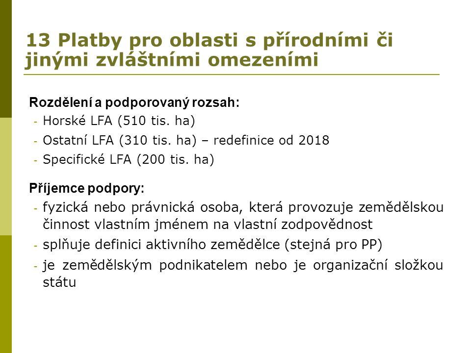 13 Platby pro oblasti s přírodními či jinými zvláštními omezeními Rozdělení a podporovaný rozsah: - Horské LFA (510 tis.