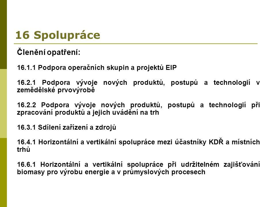 16 Spolupráce Členění opatření: 16.1.1 Podpora operačních skupin a projektů EIP 16.2.1 Podpora vývoje nových produktů, postupů a technologií v zemědělské prvovýrobě 16.2.2 Podpora vývoje nových produktů, postupů a technologií při zpracování produktů a jejich uvádění na trh 16.3.1 Sdílení zařízení a zdrojů 16.4.1 Horizontální a vertikální spolupráce mezi účastníky KDŘ a místních trhů 16.6.1 Horizontální a vertikální spolupráce při udržitelném zajišťování biomasy pro výrobu energie a v průmyslových procesech