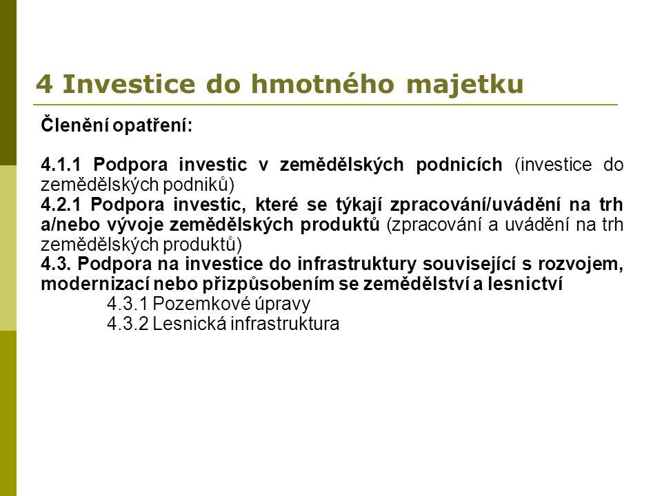 4 Investice do hmotného majetku Členění opatření: 4.1.1 Podpora investic v zemědělských podnicích (investice do zemědělských podniků) 4.2.1 Podpora investic, které se týkají zpracování/uvádění na trh a/nebo vývoje zemědělských produktů (zpracování a uvádění na trh zemědělských produktů) 4.3.