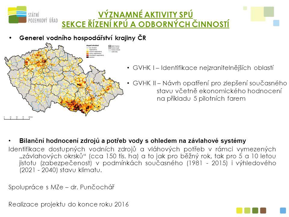 Generel vodního hospodářství krajiny ČR Bilanční hodnocení zdrojů a potřeb vody s ohledem na závlahové systémy Identifikace dostupných vodních zdrojů