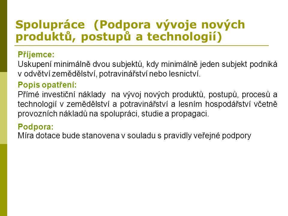 Spolupráce (Podpora vývoje nových produktů, postupů a technologií) Příjemce: Uskupení minimálně dvou subjektů, kdy minimálně jeden subjekt podniká v o