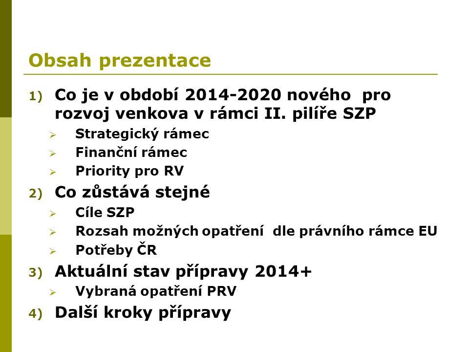 Obsah prezentace 1) Co je v období 2014-2020 nového pro rozvoj venkova v rámci II. pilíře SZP  Strategický rámec  Finanční rámec  Priority pro RV 2