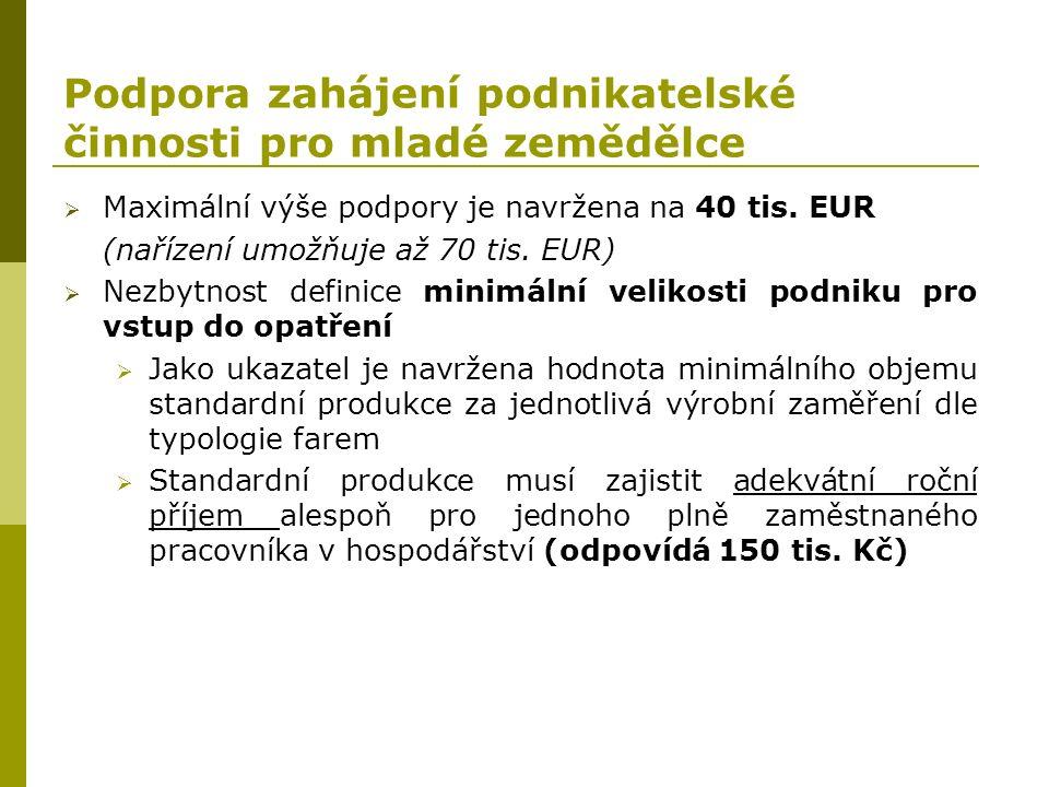 Podpora zahájení podnikatelské činnosti pro mladé zemědělce  Maximální výše podpory je navržena na 40 tis. EUR (nařízení umožňuje až 70 tis. EUR)  N