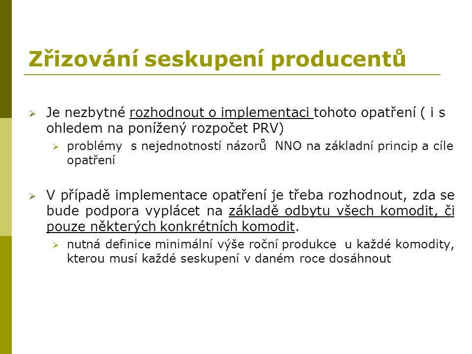 Zřizování seskupení producentů  Je nezbytné rozhodnout o implementaci tohoto opatření ( i s ohledem na ponížený rozpočet PRV)  problémy s nejednotno