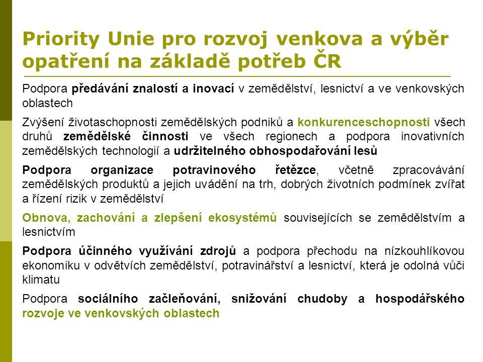 Priority Unie pro rozvoj venkova a výběr opatření na základě potřeb ČR Podpora předávání znalostí a inovací v zemědělství, lesnictví a ve venkovských
