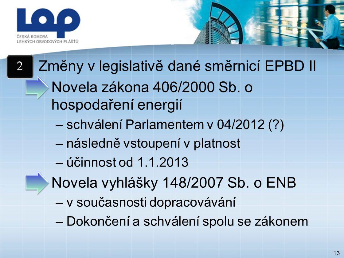 13 Změny v legislativě dané směrnicí EPBD II Novela zákona 406/2000 Sb.