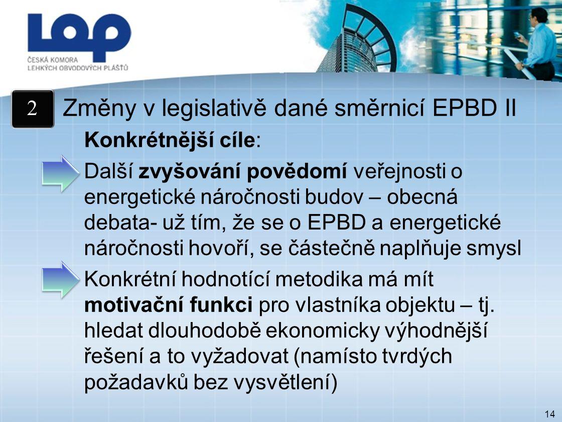 14 Změny v legislativě dané směrnicí EPBD II Konkrétnější cíle: Další zvyšování povědomí veřejnosti o energetické náročnosti budov – obecná debata- už tím, že se o EPBD a energetické náročnosti hovoří, se částečně naplňuje smysl Konkrétní hodnotící metodika má mít motivační funkci pro vlastníka objektu – tj.