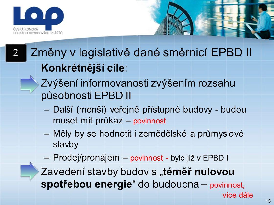 """15 Změny v legislativě dané směrnicí EPBD II Konkrétnější cíle: Zvýšení informovanosti zvýšením rozsahu působnosti EPBD II –Další (menší) veřejně přístupné budovy - budou muset mít průkaz – povinnost –Měly by se hodnotit i zemědělské a průmyslové stavby –Prodej/pronájem – povinnost - bylo již v EPBD I Zavedení stavby budov s """"téměř nulovou spotřebou energie do budoucna – povinnost, více dále 2"""