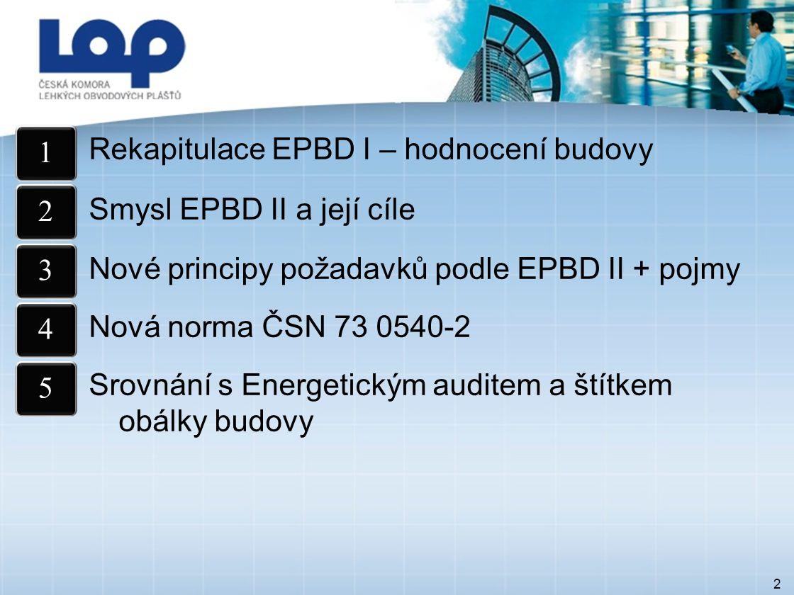 Rekapitulace EPBD I – hodnocení budovy Smysl EPBD II a její cíle Nové principy požadavků podle EPBD II + pojmy Nová norma ČSN 73 0540-2 Srovnání s Energetickým auditem a štítkem obálky budovy 2 12345