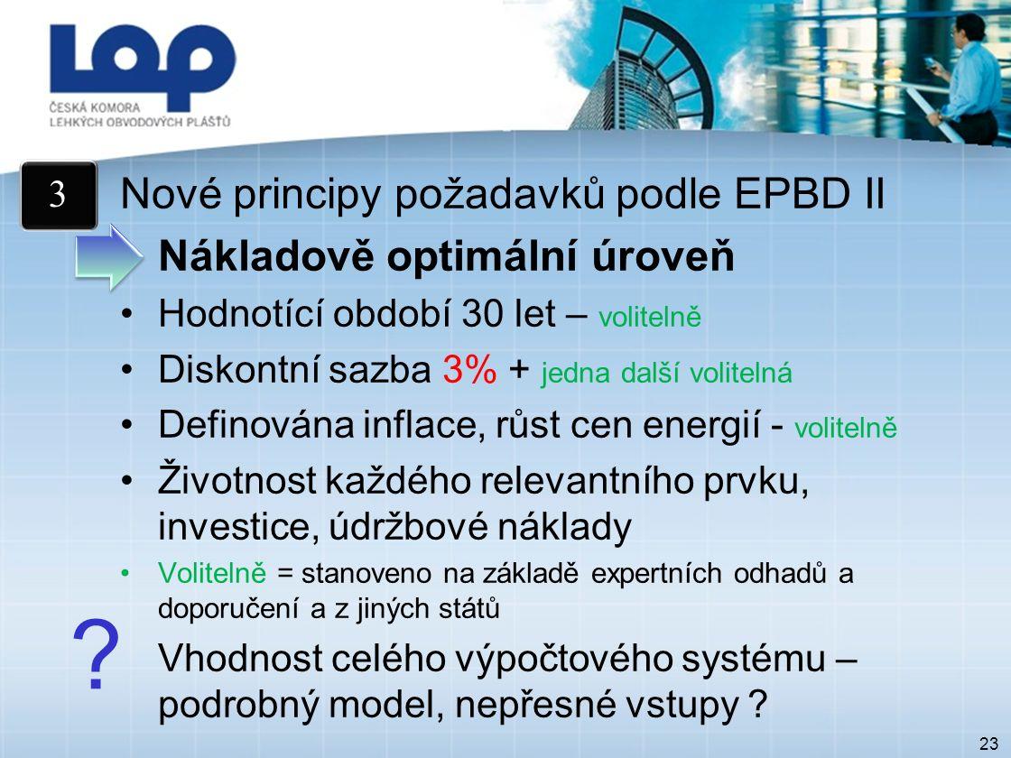 23 Nové principy požadavků podle EPBD II Nákladově optimální úroveň Hodnotící období 30 let – volitelně Diskontní sazba 3% + jedna další volitelná Definována inflace, růst cen energií - volitelně Životnost každého relevantního prvku, investice, údržbové náklady Volitelně = stanoveno na základě expertních odhadů a doporučení a z jiných států Vhodnost celého výpočtového systému – podrobný model, nepřesné vstupy .