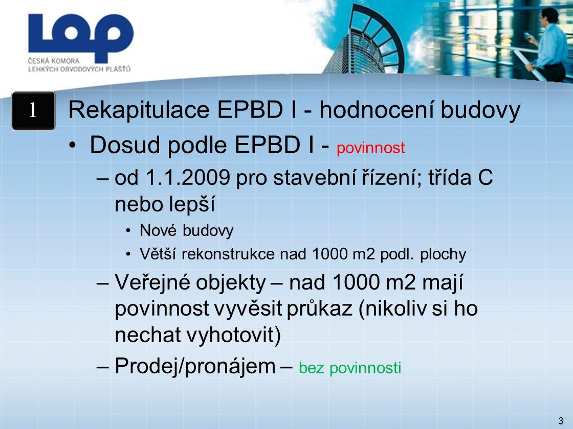 3 Rekapitulace EPBD I - hodnocení budovy Dosud podle EPBD I - povinnost –od 1.1.2009 pro stavební řízení; třída C nebo lepší Nové budovy Větší rekonstrukce nad 1000 m2 podl.