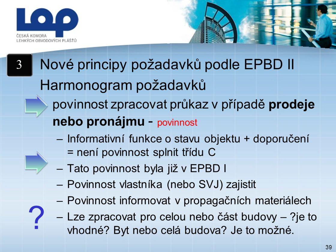 39 Nové principy požadavků podle EPBD II Harmonogram požadavků povinnost zpracovat průkaz v případě prodeje nebo pronájmu - povinnost –Informativní funkce o stavu objektu + doporučení = není povinnost splnit třídu C –Tato povinnost byla již v EPBD I –Povinnost vlastníka (nebo SVJ) zajistit –Povinnost informovat v propagačních materiálech –Lze zpracovat pro celou nebo část budovy – je to vhodné.