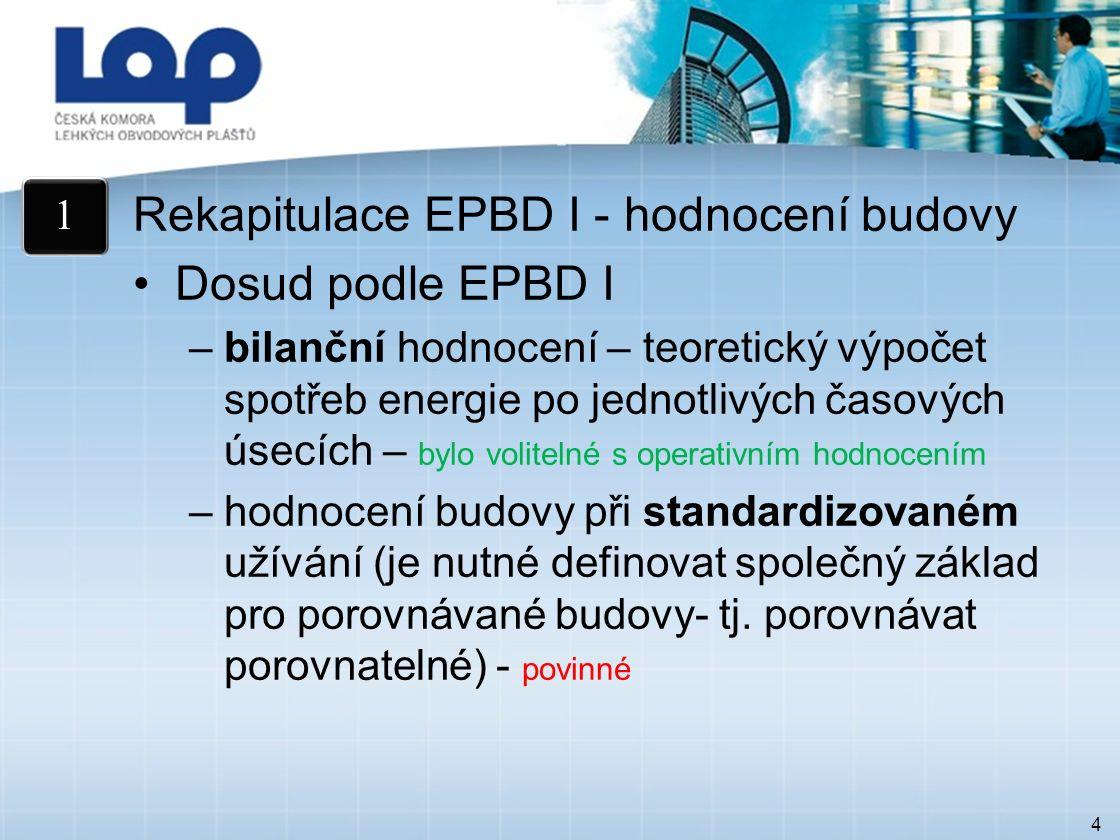 4 Rekapitulace EPBD I - hodnocení budovy Dosud podle EPBD I –bilanční hodnocení – teoretický výpočet spotřeb energie po jednotlivých časových úsecích – bylo volitelné s operativním hodnocením –hodnocení budovy při standardizovaném užívání (je nutné definovat společný základ pro porovnávané budovy- tj.