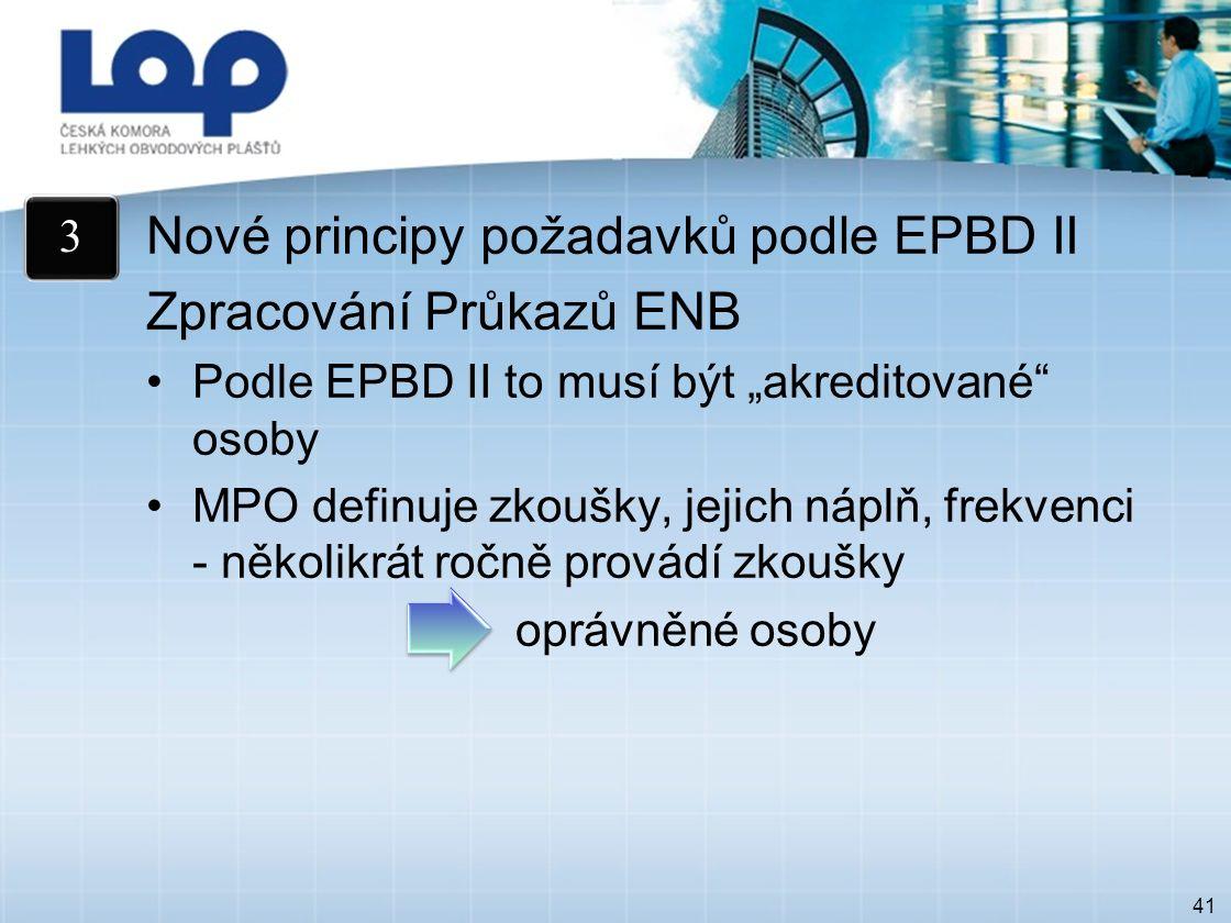 """41 Nové principy požadavků podle EPBD II Zpracování Průkazů ENB Podle EPBD II to musí být """"akreditované osoby MPO definuje zkoušky, jejich náplň, frekvenci - několikrát ročně provádí zkoušky oprávněné osoby 3"""