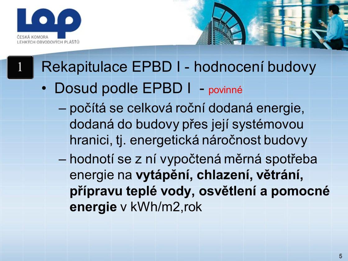 5 Rekapitulace EPBD I - hodnocení budovy Dosud podle EPBD I - povinné –počítá se celková roční dodaná energie, dodaná do budovy přes její systémovou hranici, tj.