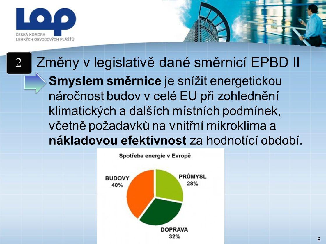 8 Změny v legislativě dané směrnicí EPBD II Smyslem směrnice je snížit energetickou náročnost budov v celé EU při zohlednění klimatických a dalších místních podmínek, včetně požadavků na vnitřní mikroklima a nákladovou efektivnost za hodnotící období.