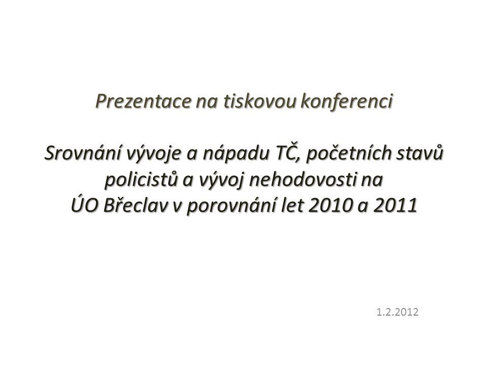 Prezentace na tiskovou konferenci Srovnání vývoje a nápadu TČ, početních stavů policistů a vývoj nehodovosti na ÚO Břeclav v porovnání let 2010 a 2011 1.2.2012