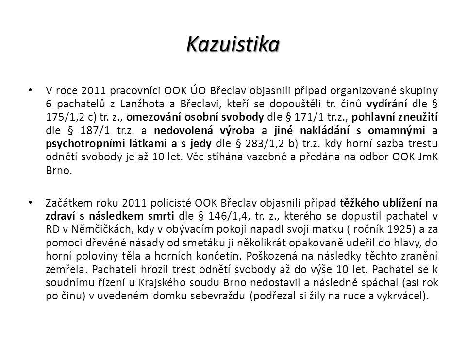 Kazuistika V roce 2011 pracovníci OOK ÚO Břeclav objasnili případ organizované skupiny 6 pachatelů z Lanžhota a Břeclavi, kteří se dopouštěli tr. činů