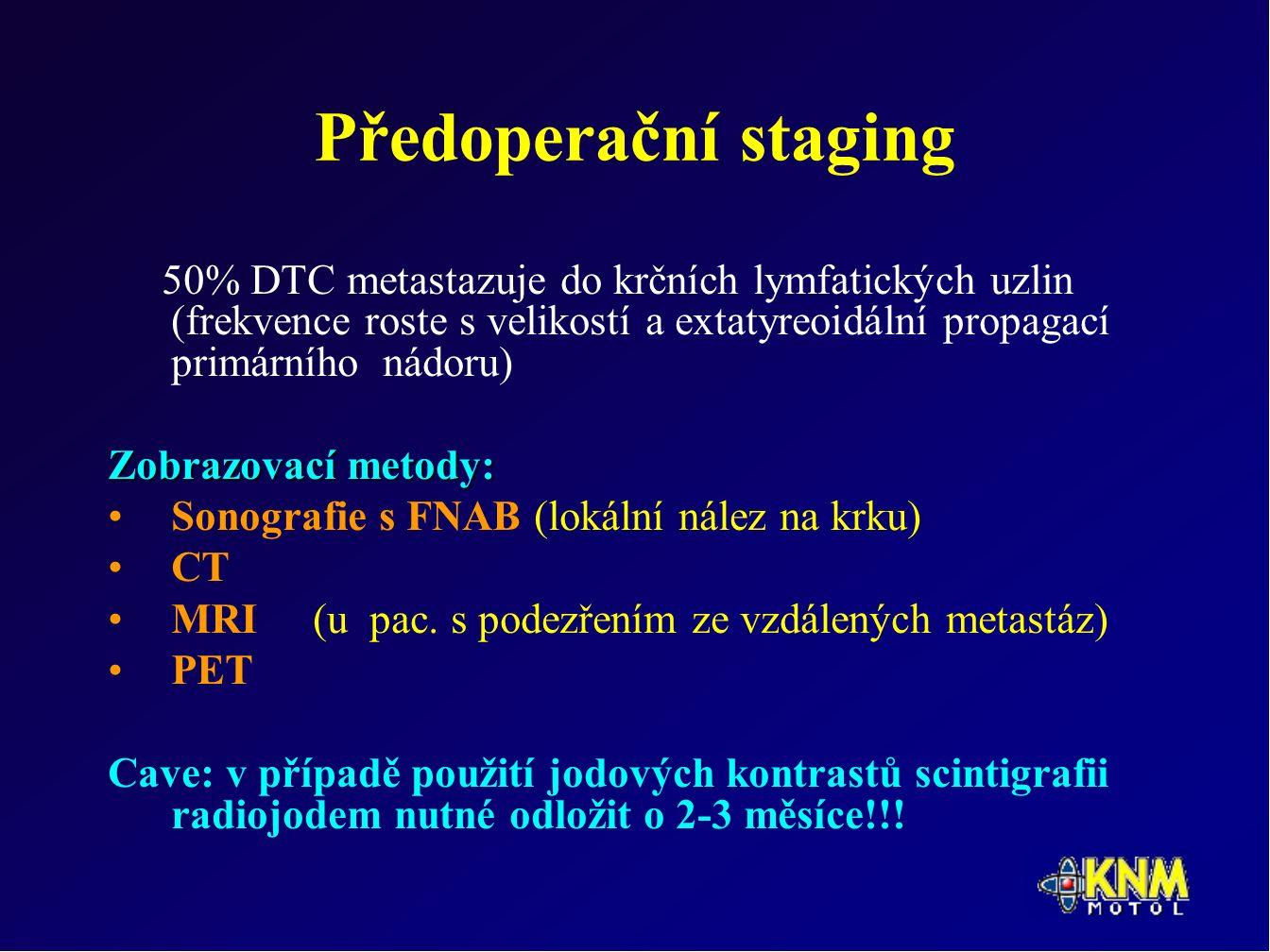 Předoperační staging 50% DTC metastazuje do krčních lymfatických uzlin (frekvence roste s velikostí a extatyreoidální propagací primárního nádoru) Zobrazovací metody: Sonografie s FNAB (lokální nález na krku) CT MRI (u pac.