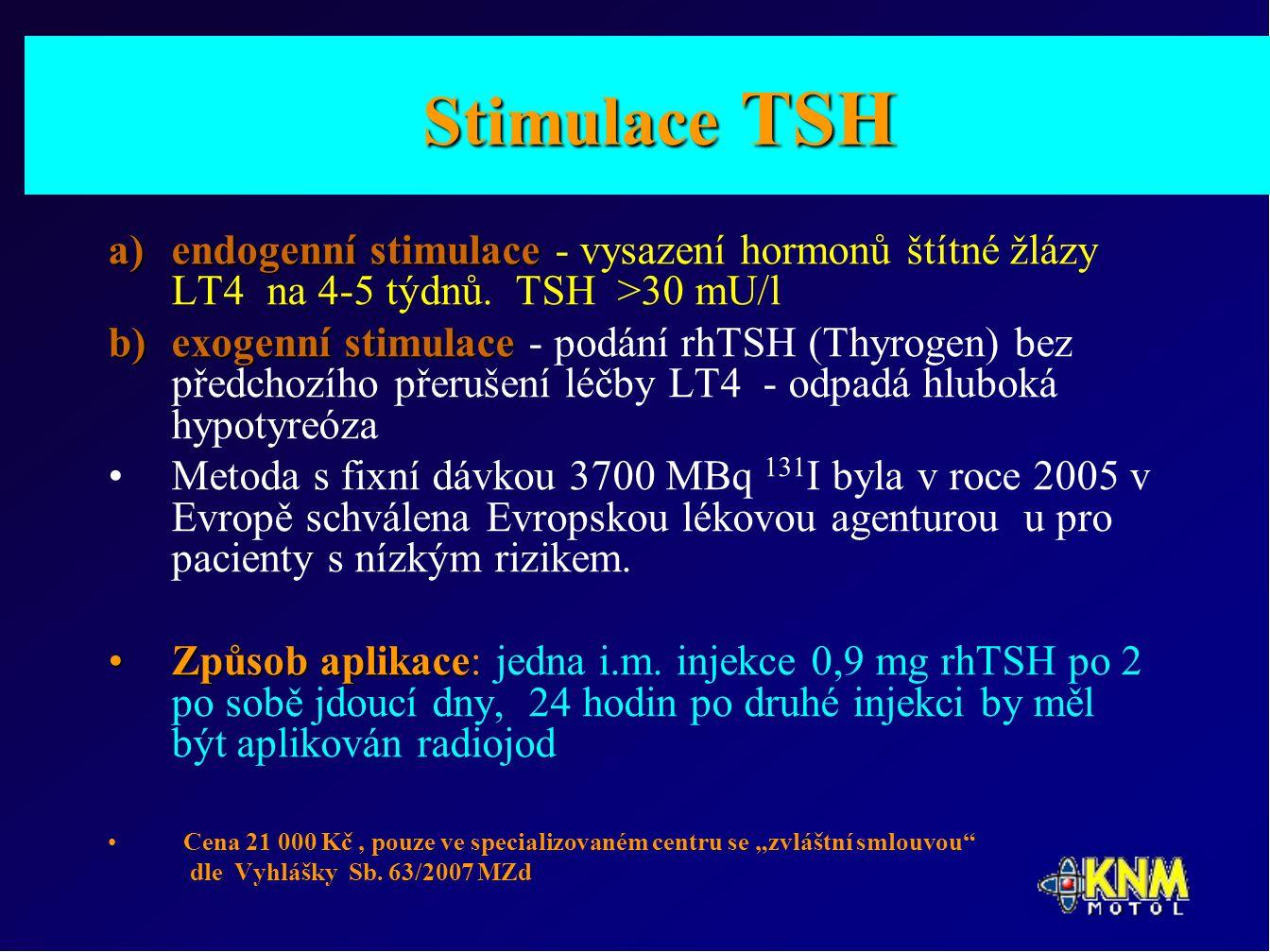 Stimulace TSH a)endogenní stimulace a)endogenní stimulace - vysazení hormonů štítné žlázy LT4 na 4-5 týdnů.