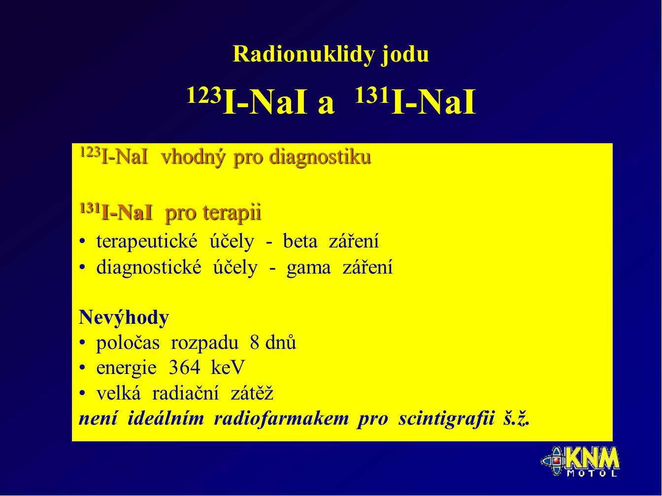 Radionuklidy jodu 123 I-NaI a 131 I-NaI 123 I-NaI vhodný pro diagnostiku 131 I-NaI pro terapii terapeutické účely - beta záření diagnostické účely - gama záření Nevýhody poločas rozpadu 8 dnů energie 364 keV velká radiační zátěž není ideálním radiofarmakem pro scintigrafii š.ž.