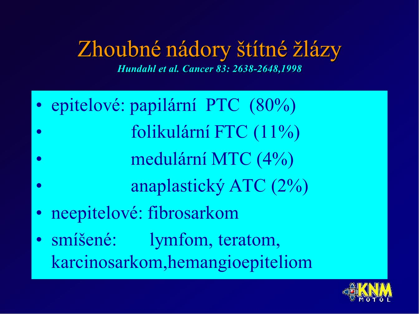 Zhoubné nádory štítné žlázy Hundahl et al.