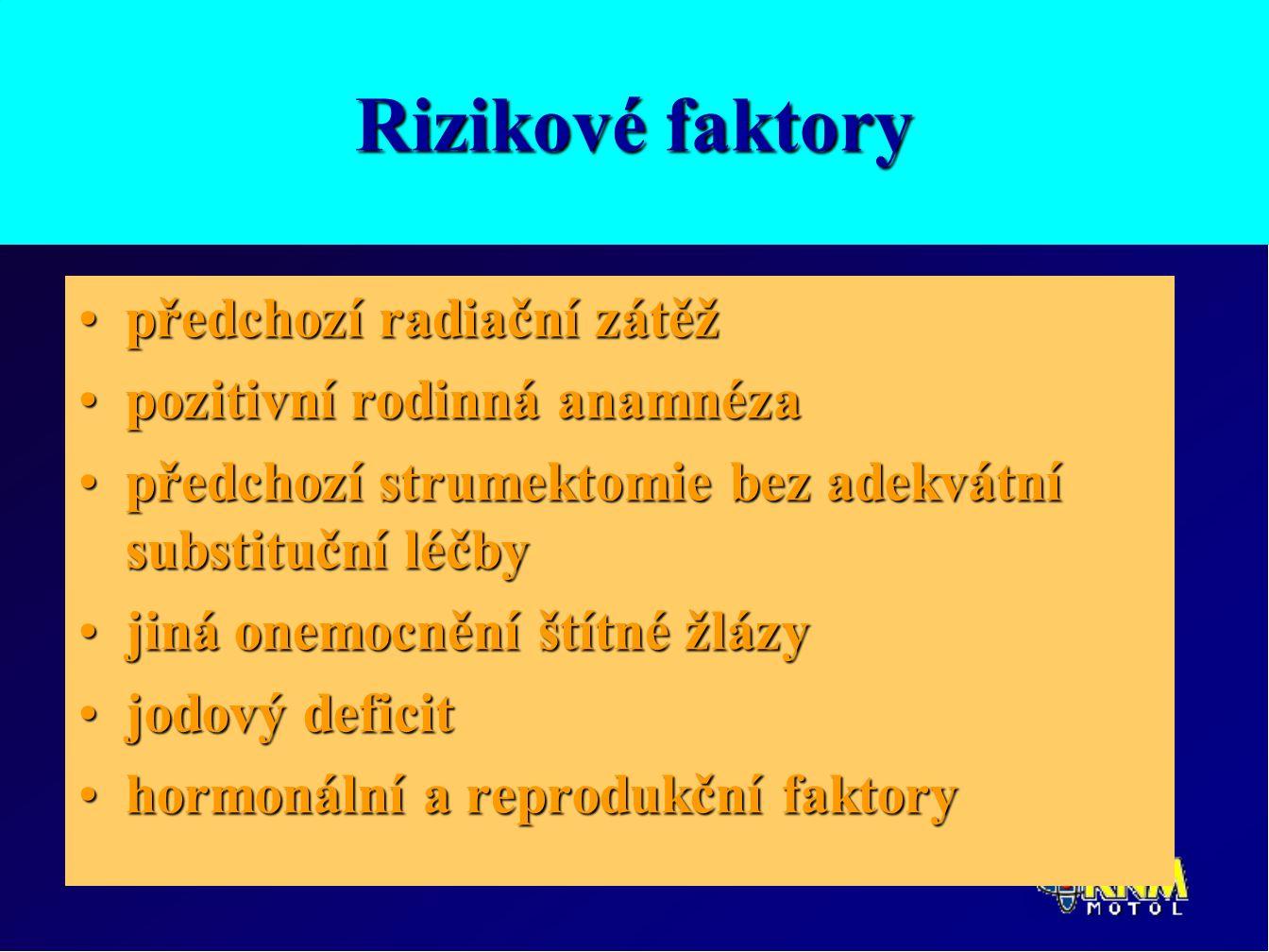 Rizikové faktory předchozí radiační zátěžpředchozí radiační zátěž pozitivní rodinná anamnézapozitivní rodinná anamnéza předchozí strumektomie bez adekvátní substituční léčbypředchozí strumektomie bez adekvátní substituční léčby jiná onemocnění štítné žlázyjiná onemocnění štítné žlázy jodový deficitjodový deficit hormonální a reprodukční faktoryhormonální a reprodukční faktory