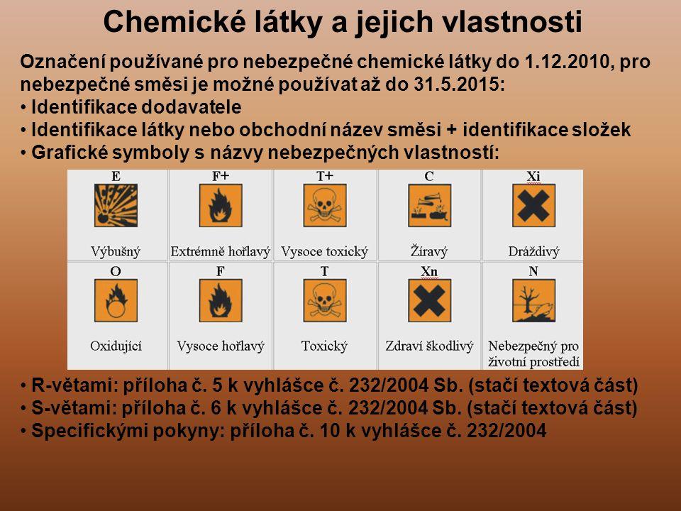 Chemické látky a jejich vlastnosti Označení používané pro nebezpečné chemické látky do 1.12.2010, pro nebezpečné směsi je možné používat až do 31.5.20