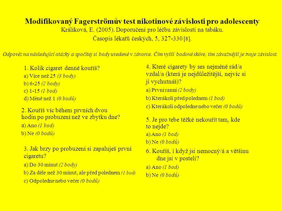 Modifikovaný Fagerströmův test nikotinové závislosti pro adolescenty Králíková, E. (2005). Doporučení pro léčbu závislosti na tabáku. Časopis lékařů č