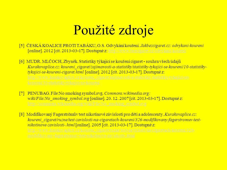 Použité zdroje [5] ČESKÁ KOALICE PROTI TABÁKU, O.S. Odvykání kouření. Jakbezcigaret.cz: odvykani-koureni [online]. 2012 [cit. 2013-03-17]. Dostupné z: