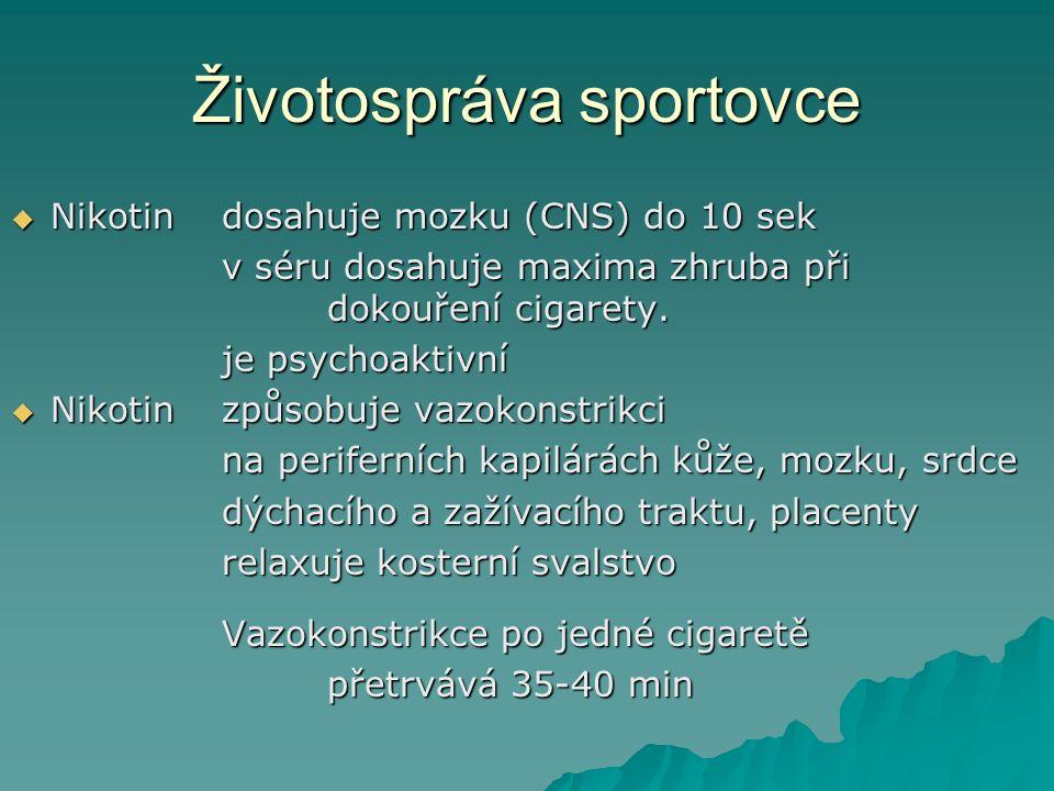 Životospráva sportovce  Nikotindosahuje mozku (CNS) do 10 sek v séru dosahuje maxima zhruba při dokouření cigarety. je psychoaktivní  Nikotinzpůsobu