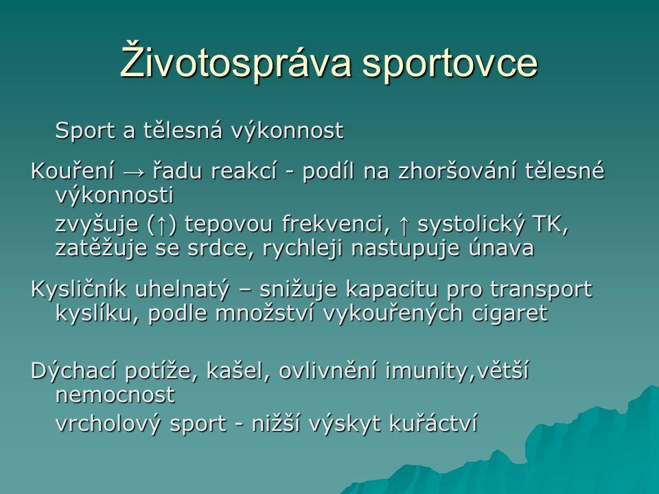 Životospráva sportovce Sport a tělesná výkonnost Kouření → řadu reakcí - podíl na zhoršování tělesné výkonnosti zvyšuje ( ↑ ) tepovou frekvenci, ↑ sys