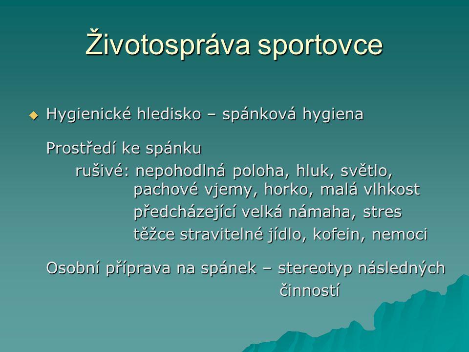 Životospráva sportovce  Hygienické hledisko – spánková hygiena Prostředí ke spánku rušivé: nepohodlná poloha, hluk, světlo, pachové vjemy, horko, mal