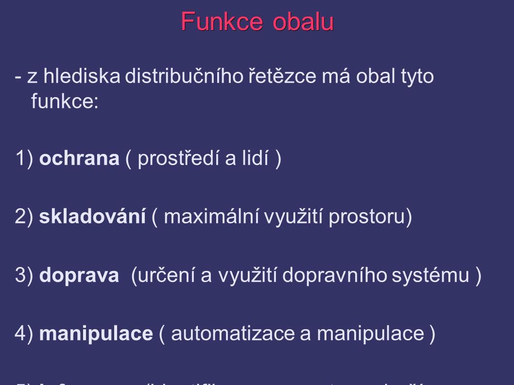 Funkce obalu - z hlediska distribučního řetězce má obal tyto funkce: 1) ochrana ( prostředí a lidí ) 2) skladování ( maximální využití prostoru) 3) doprava (určení a využití dopravního systému ) 4) manipulace ( automatizace a manipulace ) 5) informace (identifikace, prezentace zboží a návod)