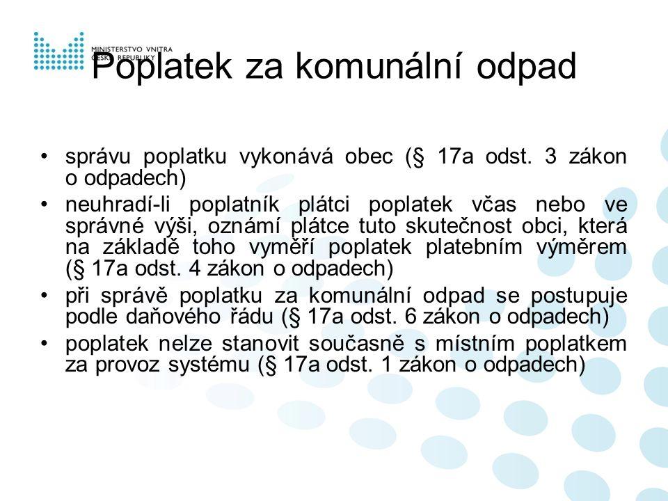Poplatek za komunální odpad správu poplatku vykonává obec (§ 17a odst.