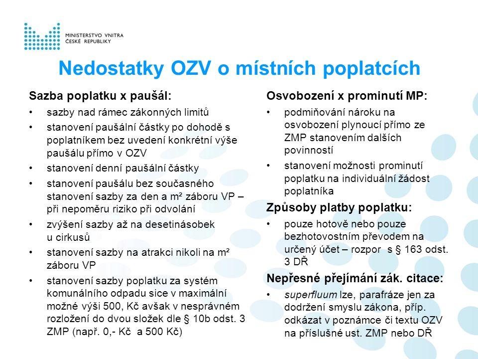 Nedostatky OZV o místních poplatcích Sazba poplatku x paušál: sazby nad rámec zákonných limitů stanovení paušální částky po dohodě s poplatníkem bez u