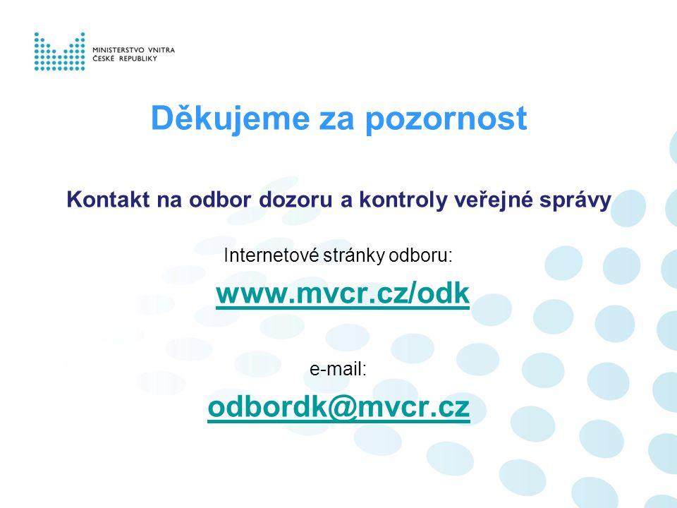Děkujeme za pozornost Kontakt na odbor dozoru a kontroly veřejné správy Internetové stránky odboru: www.mvcr.cz/odk e-mail: odbordk@mvcr.cz
