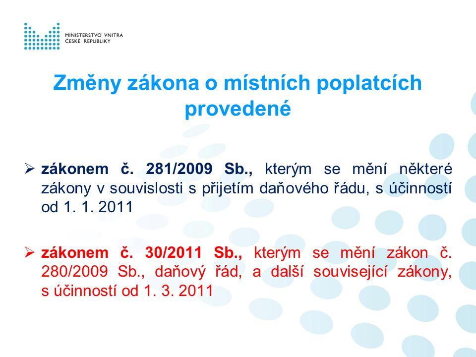 Změny zákona o místních poplatcích provedené  zákonem č. 281/2009 Sb., kterým se mění některé zákony v souvislosti s přijetím daňového řádu, s účinno