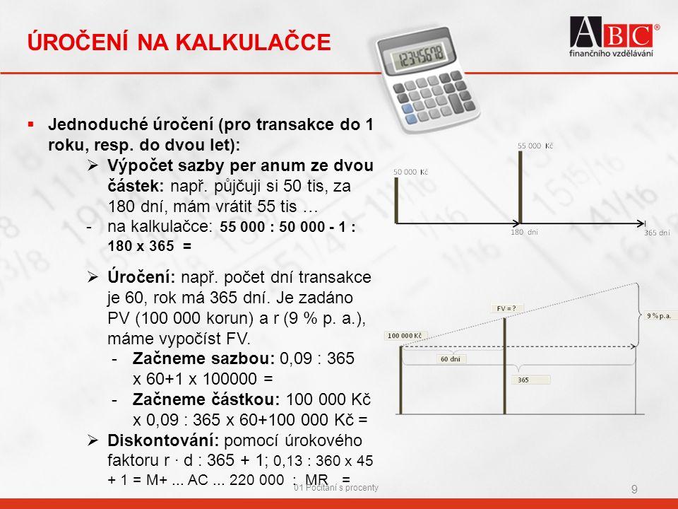 ÚROČENÍ NA KALKULAČCE  Jednoduché úročení (pro transakce do 1 roku, resp.