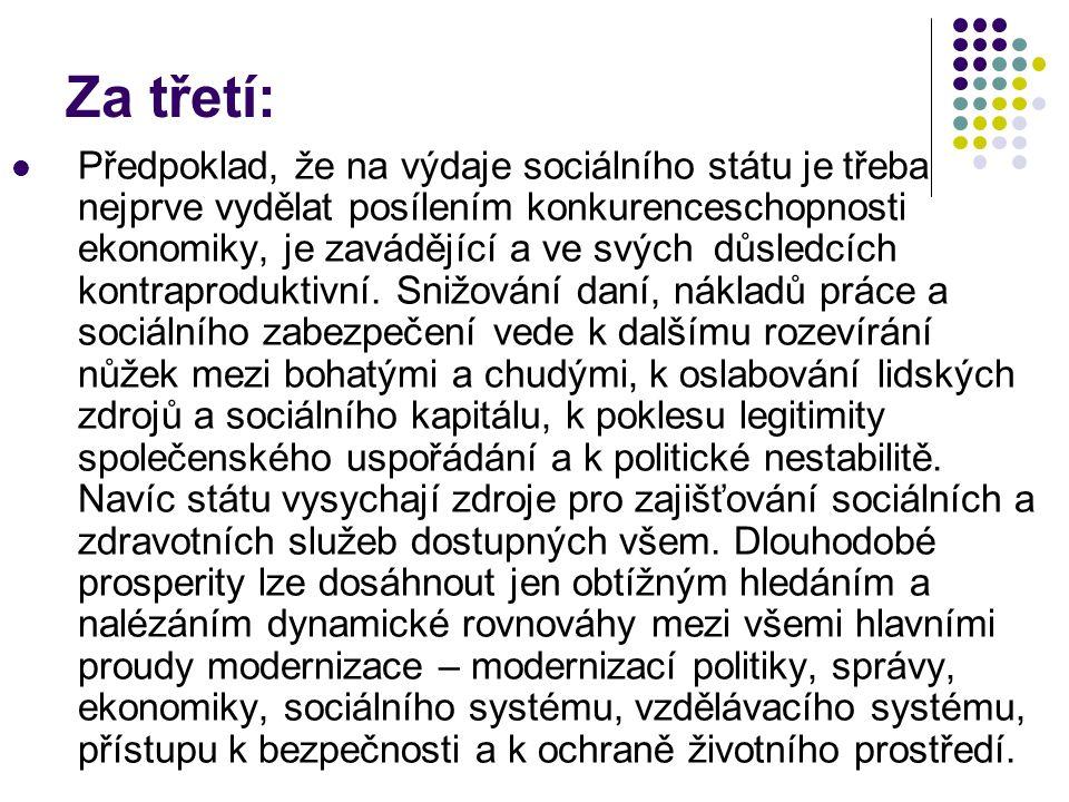 Za třetí: Předpoklad, že na výdaje sociálního státu je třeba nejprve vydělat posílením konkurenceschopnosti ekonomiky, je zavádějící a ve svých důsledcích kontraproduktivní.