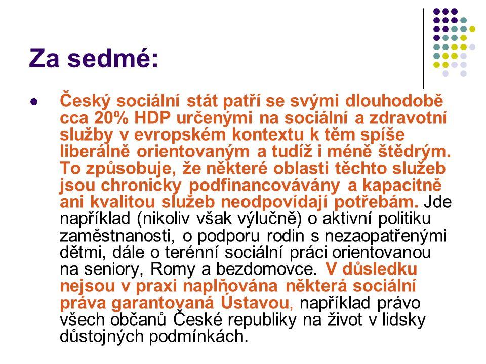 Za sedmé: Český sociální stát patří se svými dlouhodobě cca 20% HDP určenými na sociální a zdravotní služby v evropském kontextu k těm spíše liberálně orientovaným a tudíž i méně štědrým.