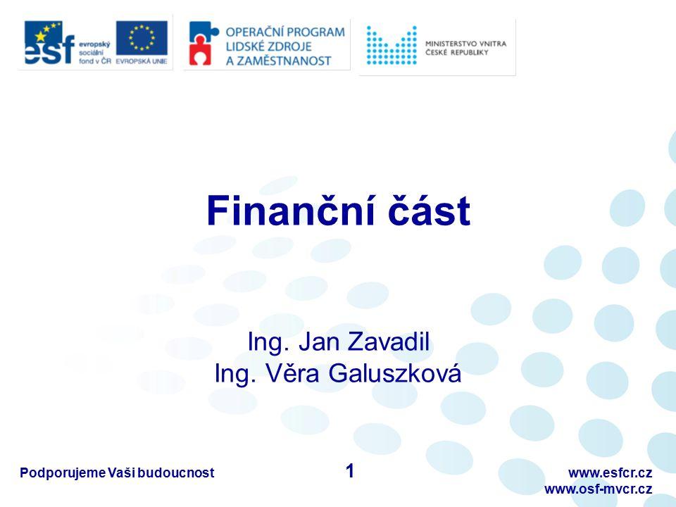 Finanční část Ing. Jan Zavadil Ing. Věra Galuszková Podporujeme Vaši budoucnostwww.esfcr.cz www.osf-mvcr.cz 1